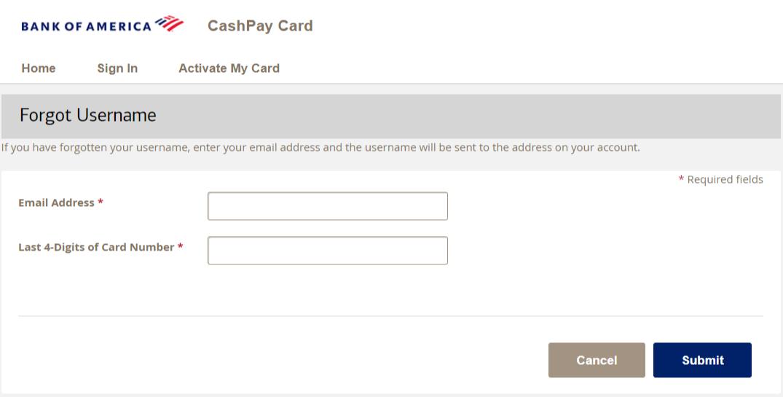 BankOf America Cash Pay Card Login