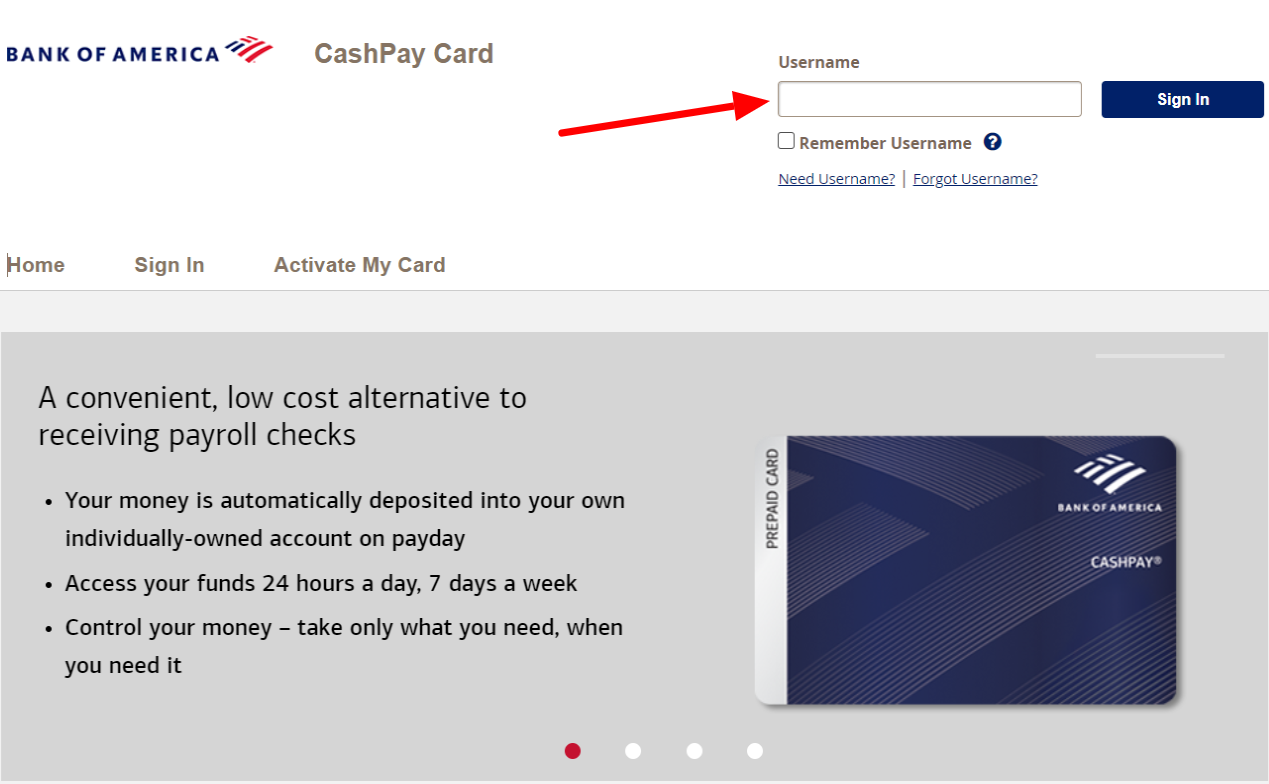 BAnk of America CashPay Card Sign in