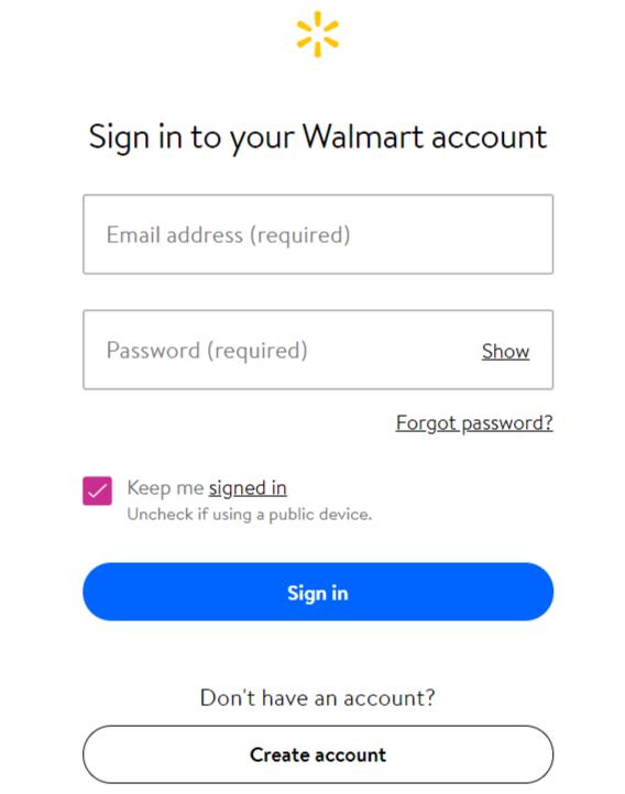 Walmart credit card Login account