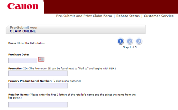 canon pre submit form