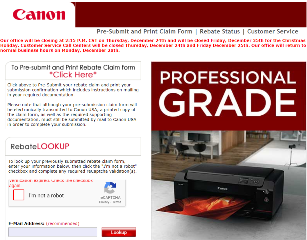 Canon customer service