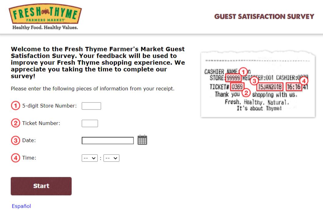 Fresh Thyme Survey