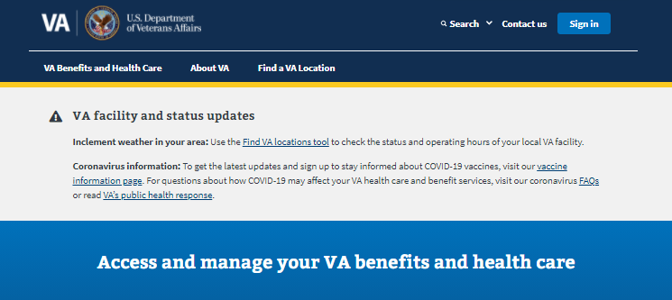 Veterans Affairs Login