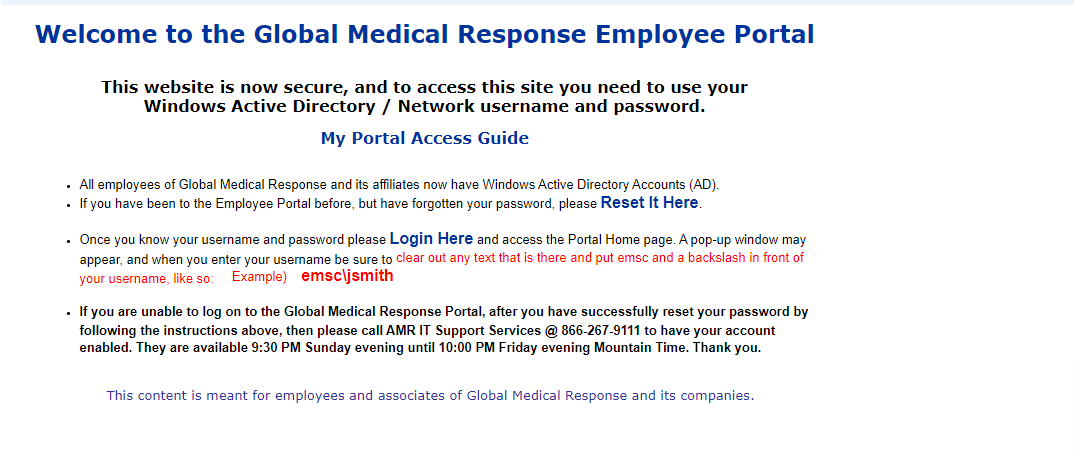 EMSC Portal Login